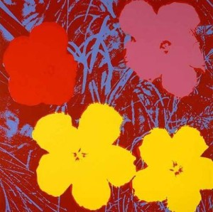 Andy-Warhols-Pop-art-daisies-in-red-300x298